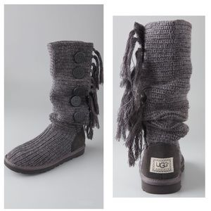 UGG Charcoal Grey Cardy Knit Fringe Tall Boot 9